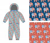 Постер, плакат: Republican Baby Childrens Clothing Republican Elephant Seamless Pattern Elephant Texture Symbol
