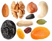 pic of dry fruit  - Close seeds and dried fruits on white background - JPG