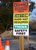 image of osha  - Safety and warning signs on construction site - JPG
