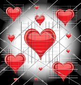 stock photo of loveless  - against the bright light a lot of heart behind bars and barbed wire - JPG