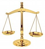 stock photo of scale  - a stock shot of brass scales of justice over white - JPG