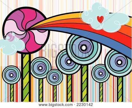 Rainbow Lollipop Wonderland (Vector) - Illustration