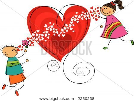 Boy Blowing Kisses To Girl (Vector) - Cartoon Illustration
