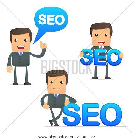funny cartoon businessman holding a sign SEO