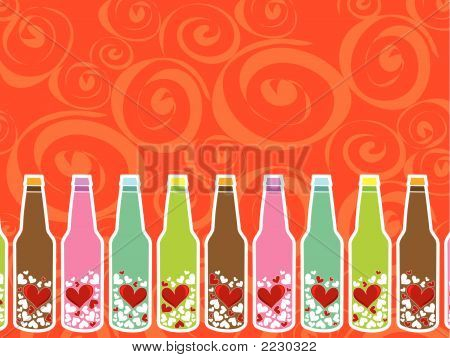 Love Messages In Bottles (Vector) - Illustration