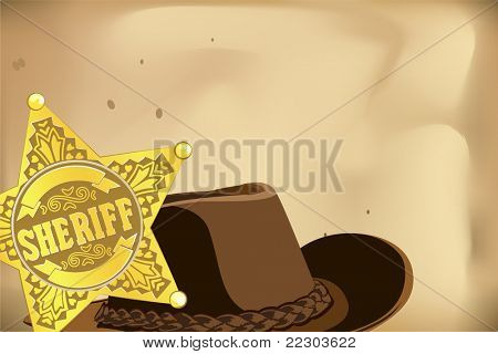 gold vector sheriff star and hat on brown background
