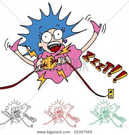 An image of a woman being electrocuted while fixing wires.
