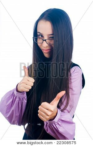 Girl showing thumb up gesture