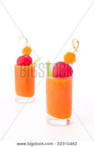 Vegetable Juice In Short Glasses