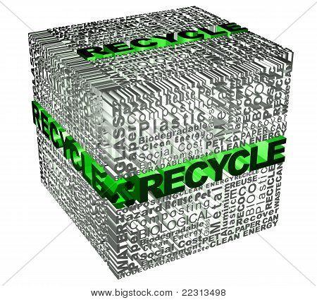 Cubo com reciclar palavras relacionadas