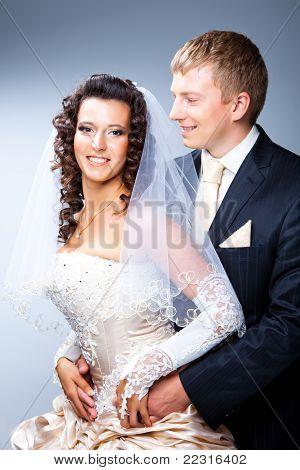 Enamoured bride and groom