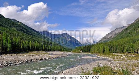 River In A Mountain Valley