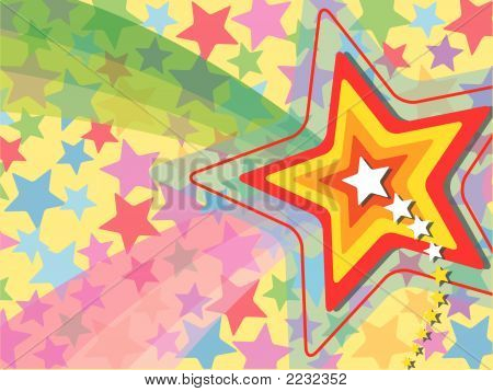 Retro Pop Rainbow Shooting Star (Vector)