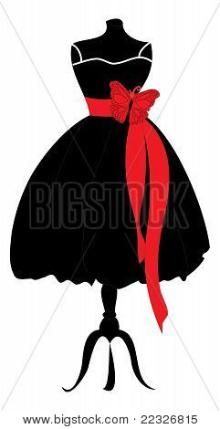 Black Dress with Red Ribbon on Mannequin