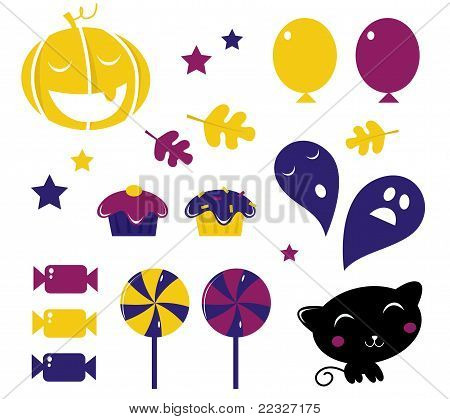 Retro Halloween Icons Isolated On White ( Yellow & Blue ).