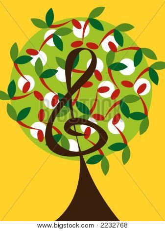 Musical Treble Tree And Cherry Notes (Vector)