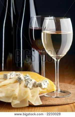 Still Life With Cheeses, Red And White Wines