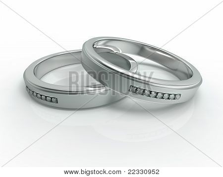Silver with diamonds wedding rings