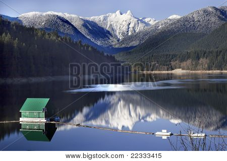 Capilano Reservoir Lake Snowy Two Lions Mountains Vancouver British Columbia