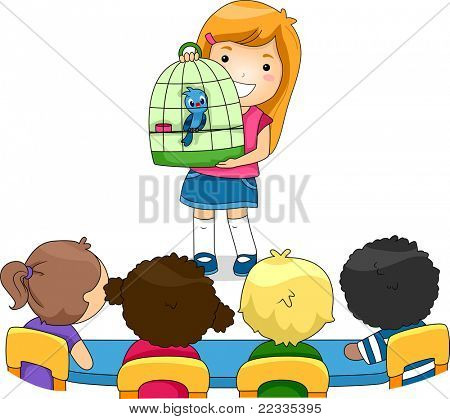 Illustration of a Kid Showing Her Pet to Her Classmates
