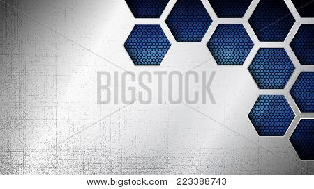 poster of Vector illustration of abstract stainless steel metal panel with grunge overlay metallic texture and hexagonal grid pattern over blue light background for your design