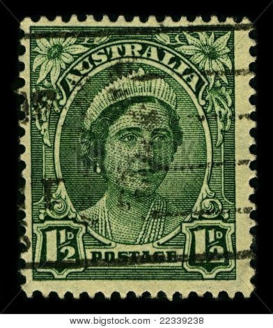 AUSTRALIA-CIRCA 1942:A stamp printed in AUSTRALIA shows image of Elizabeth Bowes-Lyon  was the Queen consort of King George VI from 1936 until her husband's death in 1952, circa 1942.