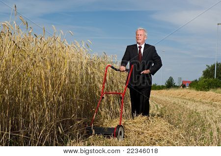Businessman surveying a challenge