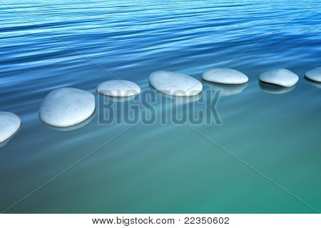 An image of some step stones in the ocean