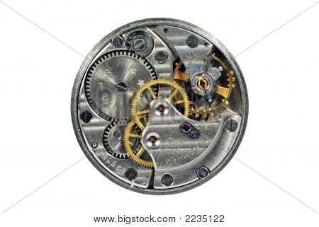 Details Of Clock On A White Background