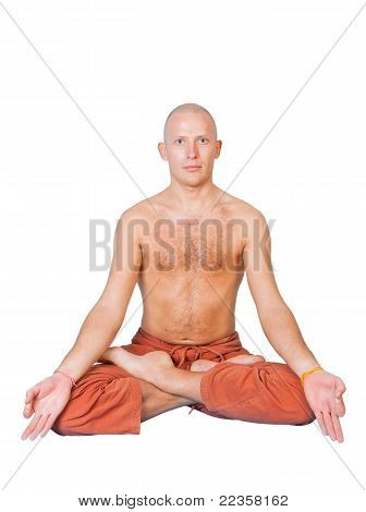 Man Sitting In Lotus Pose Isolated On White