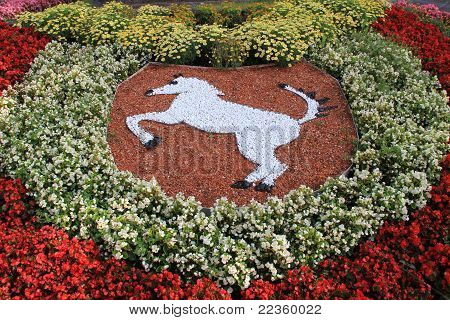 horse emblem made of flowers
