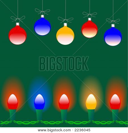 Christmas Ornaments & Lights On Green Background