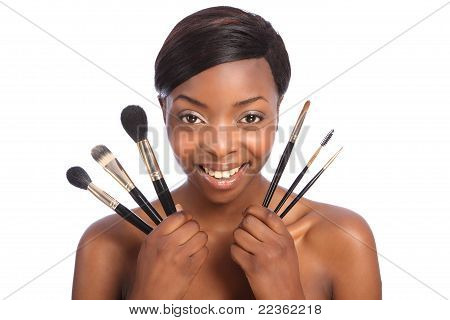 Beautiful African American Make Up Artist Girl