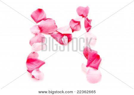 Pink Petal Letter - Capital M