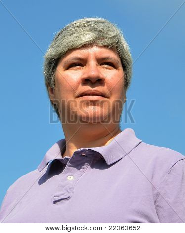 Middle-aged Woman Looking Forward