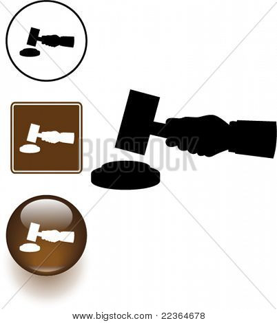 hand holding a judge or auction hammer symbol sign and button