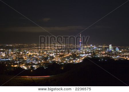 Auckland City And Harbour Bridge At Night