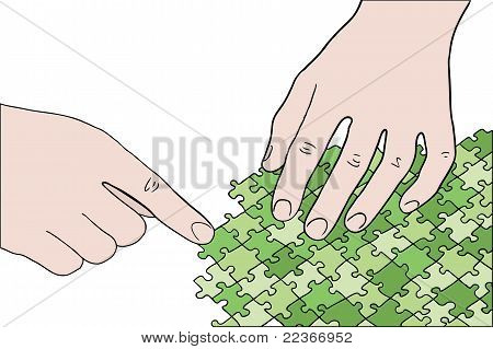 Human Hands Assembling Green Puzzle Vector