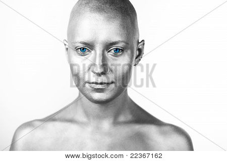 Bald woman. Portrait.