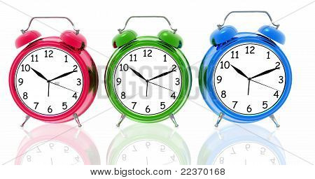Alarm clocks in different colors