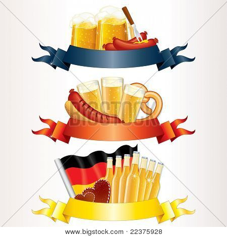Festive Oktoberfest Headers with Beer, Wurst, Flag and Pretzel. Ready for your own text or design