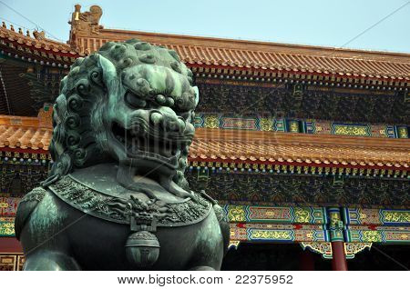 Bronze Lion Guarding The Imperial Palace In Beijing