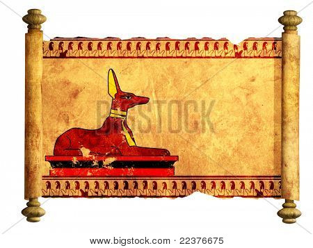 Scroll with Egyptian god Anubis image. Object over white