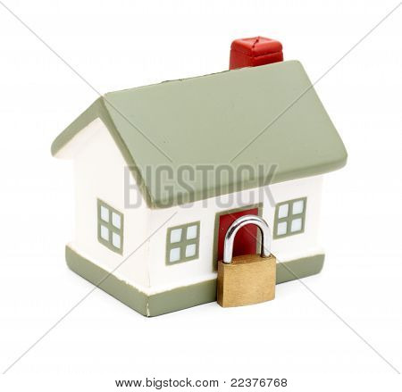 miniature house with lock