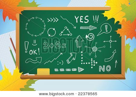 School Autumn Background With Symbols On Blackboard And Yellow Leaves, Vector