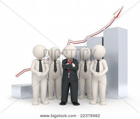 3D Business Team - Financial Graph