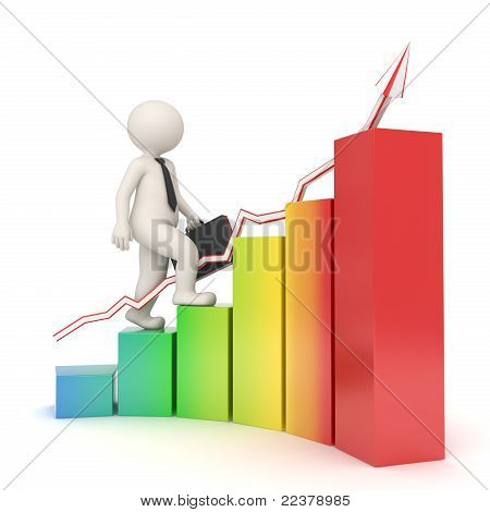 3D Business Man On Financial Graph