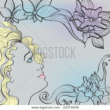 Beautiful Girl On Floral Background