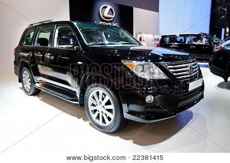 Moscow, Russia - August 25:  Black Jeep Car Lexus Lx 570 At Moscow International Exhibition Interaut