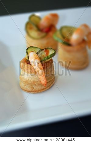appetizer with Zucchini and shrimps